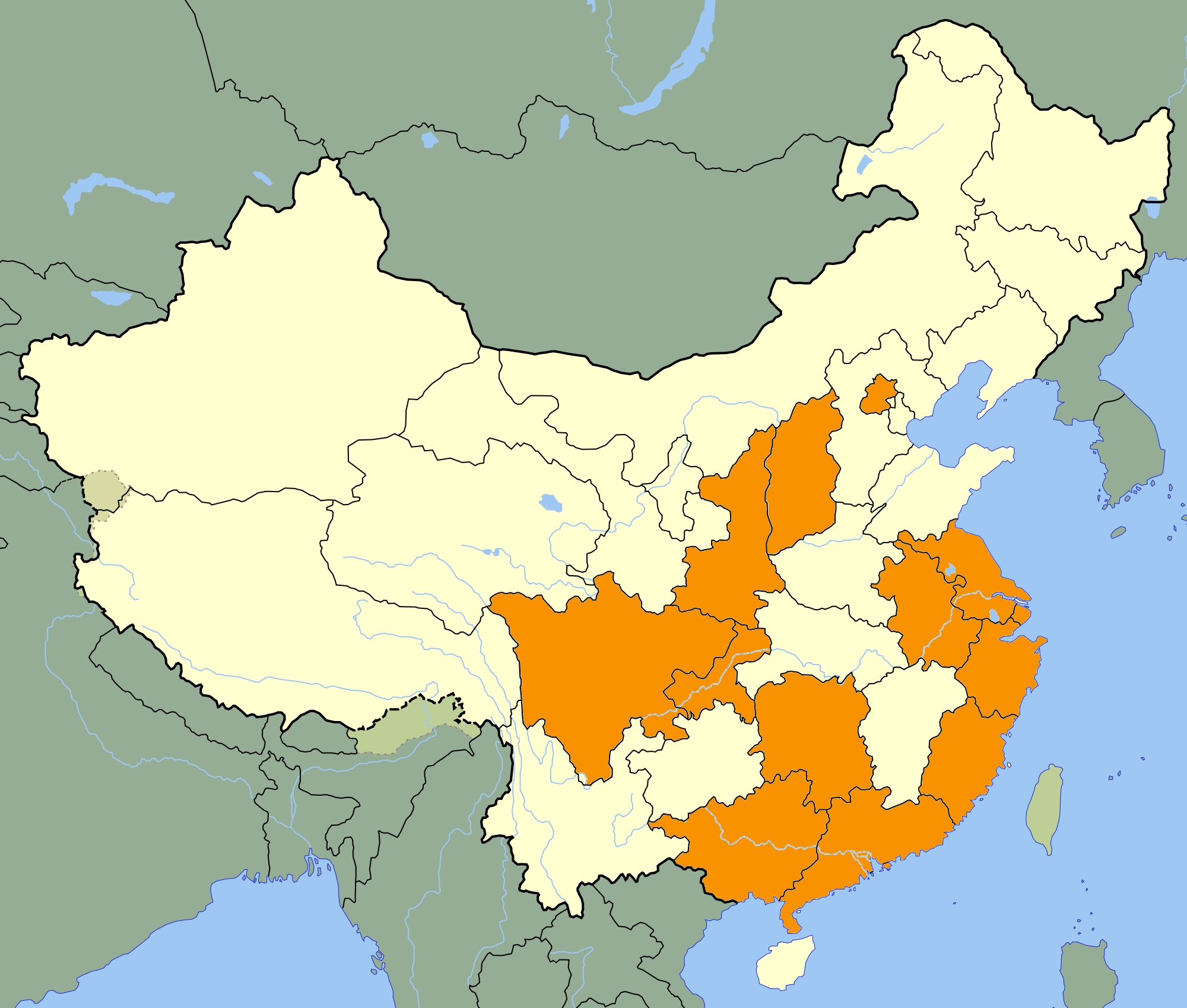 Visited Provinces and Cities on Mainland China